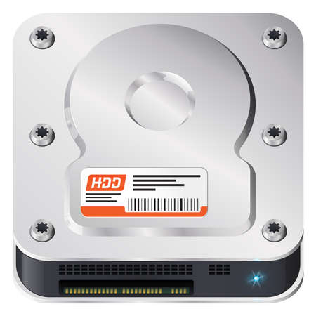 Hard disk, computer part. iOS style icon. Stock Vector - 17782585