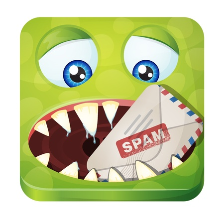 adware: Cute monster - Spam Eater. iOS style icon Illustration