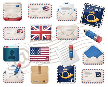 avia: Envelopes and stamps, postage set Illustration