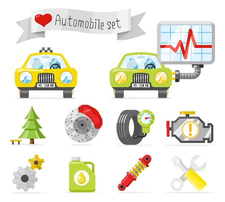tree disc: Lovely automobile icons set
