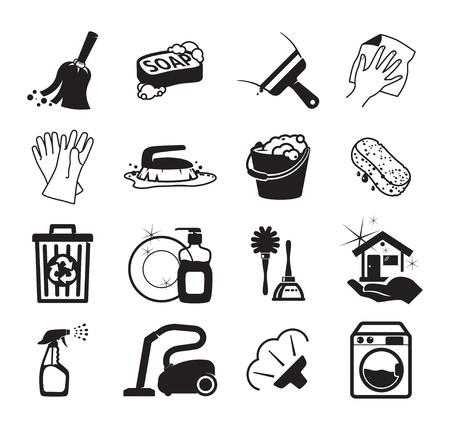 servicio domestico: Iconos monocrom�ticos de limpieza Vectores