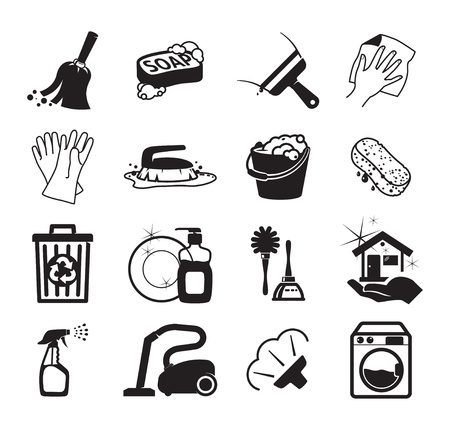 house chores: Monochromatic cleaning icons