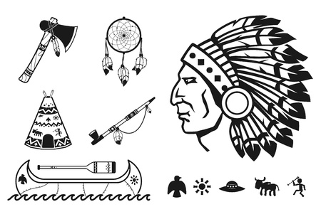 native american art: Indians icons set