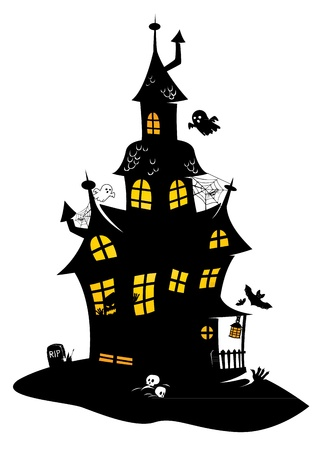 Traditional drawing of black halloween manor with monsters, bats and ghosts Ilustração