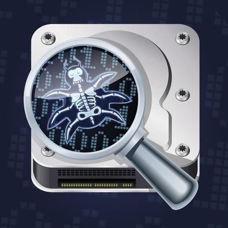 shield bug: Bug search. Cartoon computer bug or virus under magnifier.
