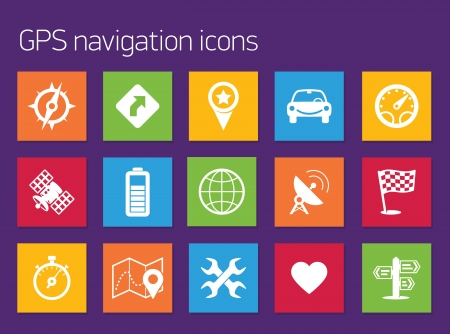 travel locations: GPS navigation icons
