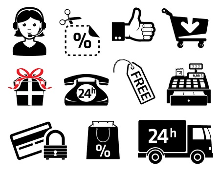 Store signs an icons, set for marketing Vector