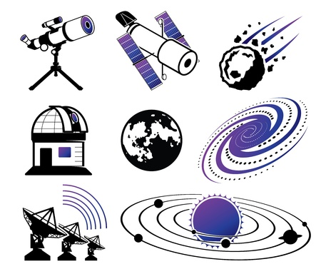 orbiting: Astronautics and Space Icons; science and technology elements Illustration