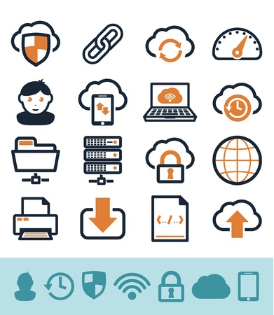 Cloud computing icons set Illustration