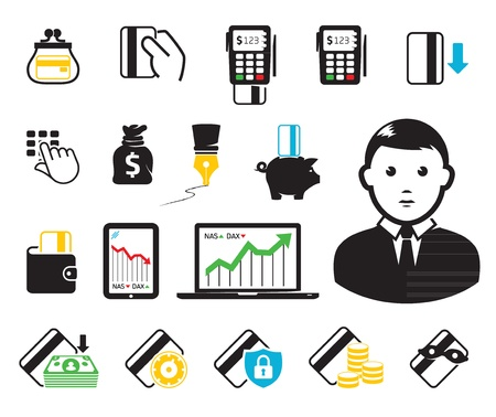 POS-terminal and credit card icons Vector