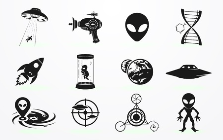 kidnapping: Alien icons set