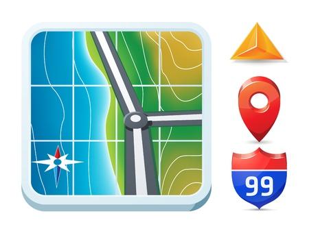 ios: GPS et navigation ic?ne de style iOS Illustration
