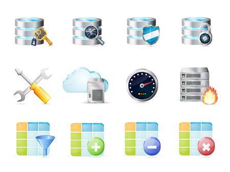 shield bug: Database icons set Illustration