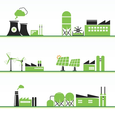 ECO energiecentrales en faciliteiten Stock Illustratie
