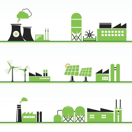 Plantas de energía ECO e instalaciones Ilustración de vector
