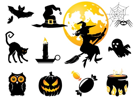 black cat silhouette: Halloween set, black orange figures for decoration