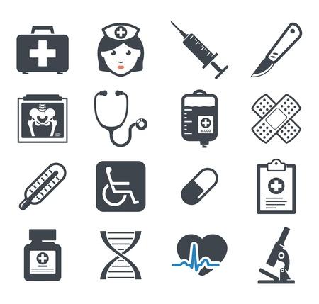 surgical nurse: Medicine icons set Illustration