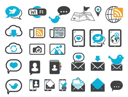 news reader: Modern communication icons