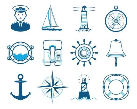 Sea Sailing icons set Illustration