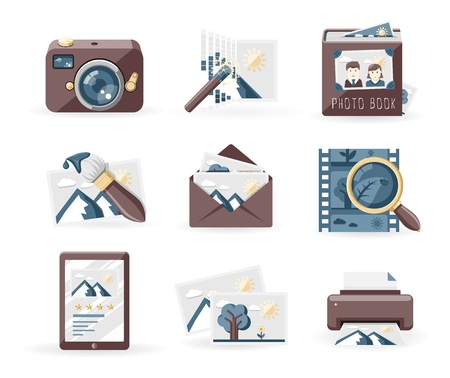 brighter: Photography icons set, retro style
