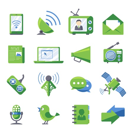 Retro style Electronics and media icons set ECO style