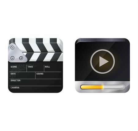 ios: Two designs - clapperboard and media file. iOS style icons Illustration