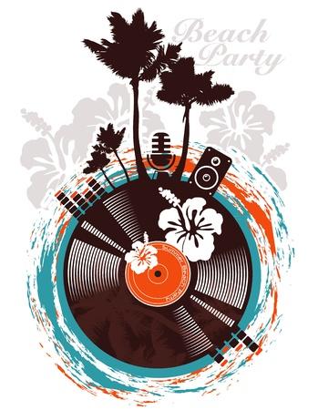 Beach party poster in tropische stijl