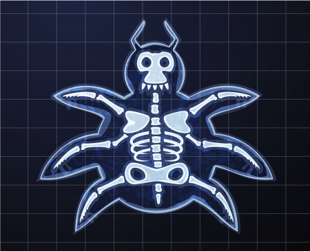 medical scanner: Cartoon image of computer bug in x-rays