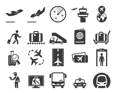 people traveling: Airport icons set