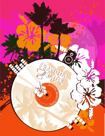 caribbean beach: Beach party poster in tropical style