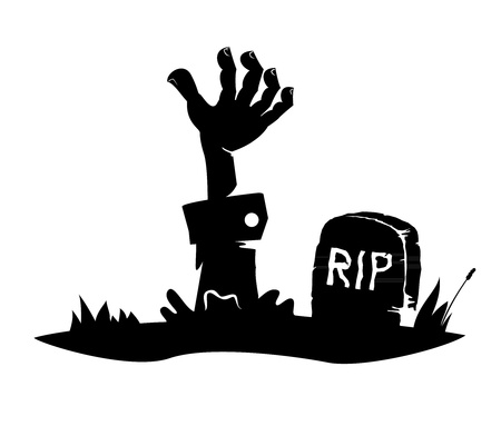 tombstone: Hand reaching from the grave, simple drawing, icon