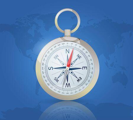 Compas sur le fond de carte du monde