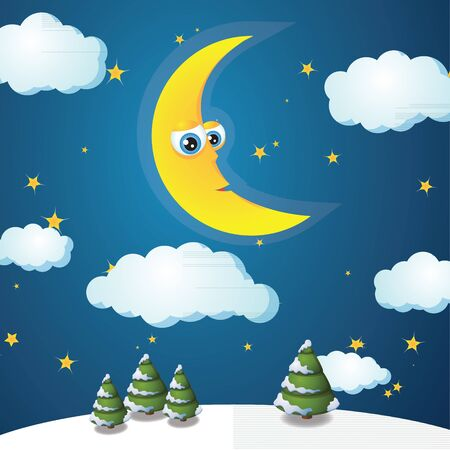Cartoon crescent, winter landscape, christmas card Vector