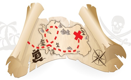 Pirate map, way to treasure Vector