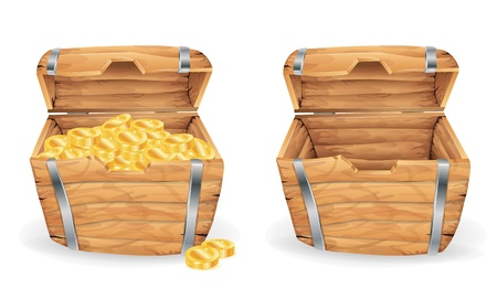 Treasure chest, full and empty Vector