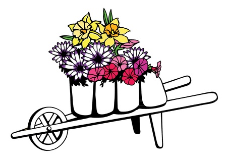 carretilla: Carretilla llena de flores de primavera Vectores
