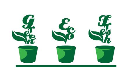 Green words in pots Vector