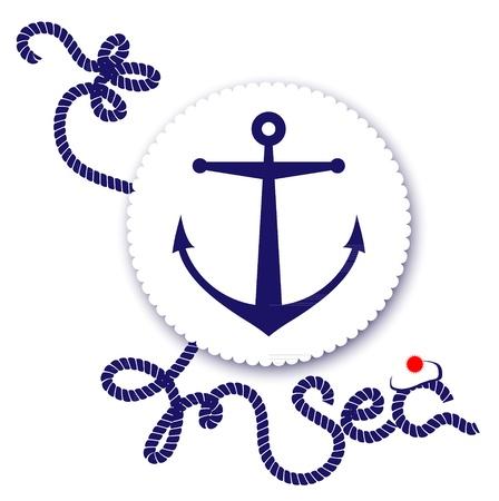 azul marino: Diseño náutico, ancla y cuerda