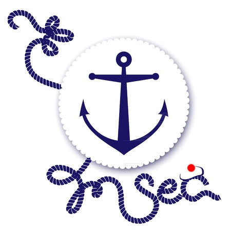 Nautical design, anchor and rope Vector