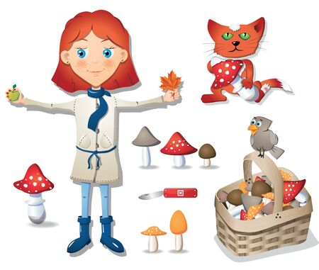 Cute little girl-mushroomer, set of autumn forest objects Vector