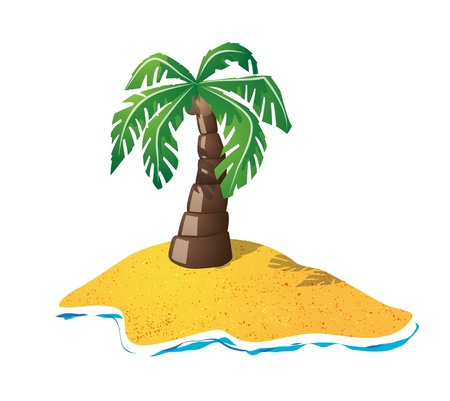 Cute palmtree on small island Vector