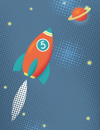 Cartoon space rocket, fly to the cosmos