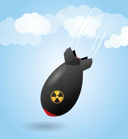 nubes caricatura: Cartoon cohete bomba que cae del cielo