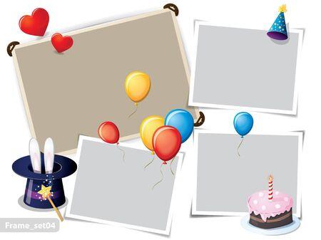 bougie coeur: Fête d'anniversaire de cadres photo Illustration