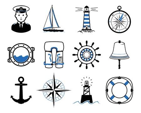 Sea Sailing icons set, dark Vector