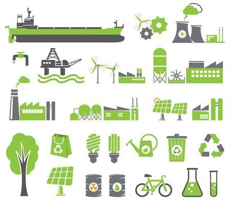 Green energy symbols, ecology concept, factory photo