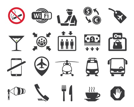 Travel and airport signs, symbols Vector