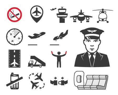 private jet: Airport icons set