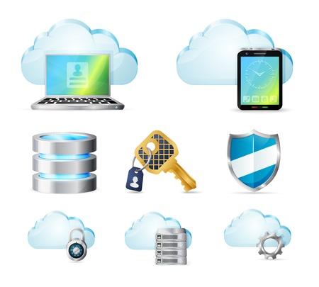 Cloud computer icons set Illustration