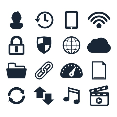 access point: Computer dashboard icons set